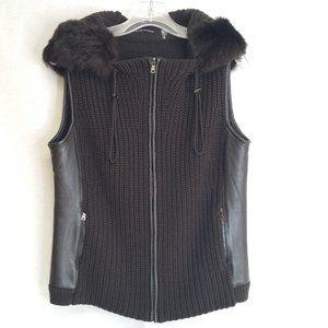 Elie Tahari Brown Merino Wool & Leather Hood Vest